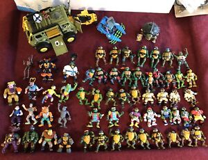Vintage Teenage Mutant Ninja Turtles Action 58 Figures Lot And Vehicles 1988 89+