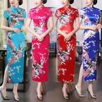 Women Traditional Silk Satin Maxi Dress Embroidered Cheongsam Qipao Size: M-XXL