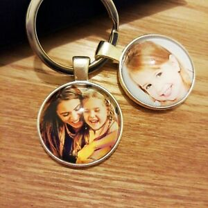 Personalised Custom Photo Keyring Chain Mothers Day Dad Mum Birthday Gifts