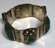 Taxco Sterling Silver Green Onyx Aztec Mask Thick Bracelet JPR