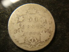 1898 Full DATE Canada Fifty 50 Cents Decent Coin DEL