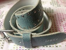 Mexx Italy Duck Egg Blue Distressed Leather Studded Buckle Belt M 12 14 32 34
