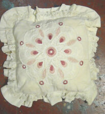 BEAUTIFUL VINTAGE pink magenta VICTORIAN EMBROIDERY LACE cream cotton PILLOW