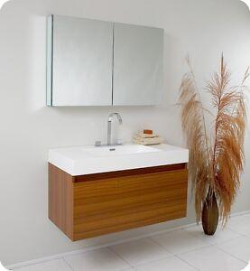 Fresca Mezzo Teak Modern Bathroom Vanity w/ Mirrored Medicine Cabinet and Faucet