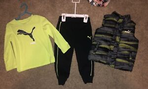 Puma Toddler Baby Boy 24 Months Winter Outfit Shirt Puff Vest And Sweatpants NWT