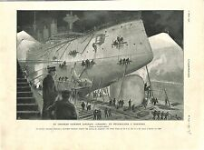 Bataille de Port-Arthur Croiseur Japon Yakumo Réparation à Nagasaki GRAVURE 1905