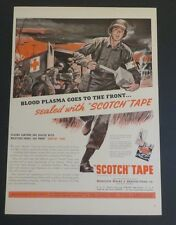 Original 1942 Vintage Magazine Print Ad SCOTCH Tape Blood Plasma goes to Front