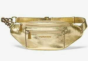 * TEST Mott Medium WaistPack Belt Bag Gold Leather 30F9AOXN6K NWT $278 FS