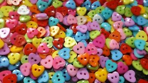 SMALL MEDIUM LARGE ASSORTED HEART BUTTONS FOR BABY CLOTHES, BAGS, CRAFTS, ETC