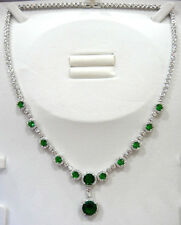 Green Emerald Pendant Necklace Set! 925 White Gold plated Luxurious AAA+++