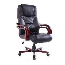HOMCOM– Sedia da Ufficio Girevole a 360° in Legno e PU Nero