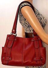 TIGNANELLO Red Genuine Leather Medium Magnet Closure Shoulder Bag (HB-938)