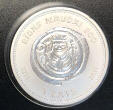 Latvia Silver Coin 1 Lat 2011 RIGAS NAUDAI 800+SERTIFIKAT