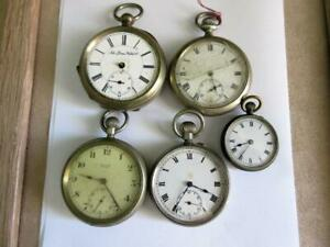 Lob Lot of 5 ANTIQUE POCKET WATCH MOVEMENTS - New Haven Watch Co. etc