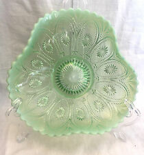 EAPG Antique Pattern Glass SPOKES & WHEELS BOWL Opalescent Green Northwood