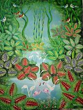 """Haitian art painting famous artist Aland Estime Paradise Forest Haiti 40""""X30"""""""