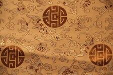 Brocart chinois-Chinese brocade-chinesischer Brokat-Tissu satin-doré-bonheur