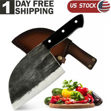 Home Kitchen Butcher Knife Stainless Steel Chef Chopper Knife withLeather Sheath