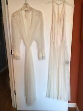 Victoria's Secret Peignoir Nightgown Robe Set Bridal Ivory Silk& Nylon ~NWT💗