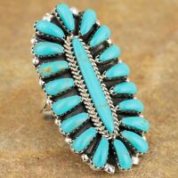 Navajo Native American Sterling Silver Turquoise Cluster Ring Sz 9 Signed DB