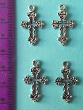10 Silver alloy Crosses 3 for Crafts Cards Favours Communion Religious