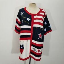Knit Pearl Womens Sweater XL Americana Red White Blue Knit Stars Buttons Hearts