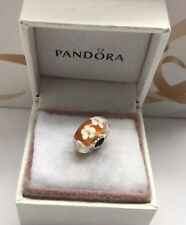 "Pandora "" Tropical flower orange "" Murano Glass Charm # 791624"