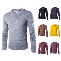Herren Slim Fit V-Ausschnitt Langarm Sweater Strickshirt Pullover Sweatshirt P/D