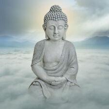 Großer Buddha sitzend steingrau höhe 47 cm  Feng Shui Garten Figur Statue