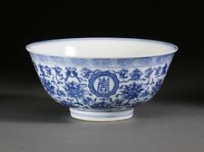 New listing Chinese Porcelain Blue Bowl with Auspicious Symbols