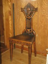 Antique Oak Hall Chair Viking Motif Late 19th Century