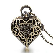 Vintage Hollow Flower Pattern Hollow Heart Pocket Quartz Necklace Watch Pendant