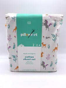 Pillowfort Mystic Menagerie FULL Cotton Sheet Set Unicorns, Woodland Creatures