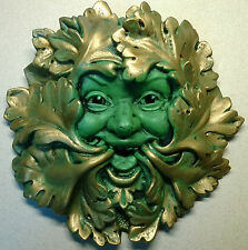 Green Man Wall Plaque - Detailed cold cast resin for home or garden - Celtic