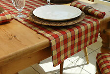 "TO CLEAR - 14x98"" FARMHOUSE CHECK TABLE RUNNER - BRICK RED & BEIGE - 8 SEATER"