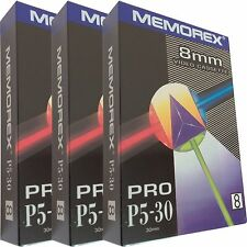 3 Professional Memorex Video 8 8mm Camcorder Video8 Tape Cassette P5-30 Blank