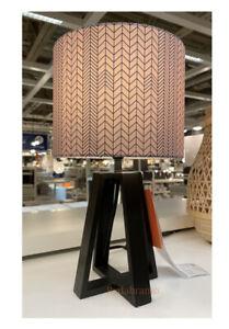 "IKEA LAKAFORS Table lamp dark brown/wood/dark pink black 16"" 004.876.71"