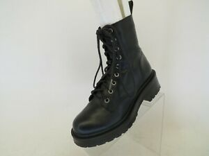 Steve Madden Black Leather Zip Laces Ankle Fashion Boots Bootie Size 6 M
