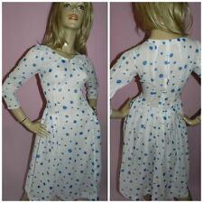VINTAGE 40s 50s SEMI SHEER WHITE BLUE POLKA DOT TEA DRESS 10 S 1940s 1950s