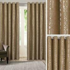 Gold Eyelet Curtains Geometric Jacquard Ready Made Lined Ring Top Curtain Pairs