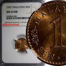 Malaysia Bronze 1967 1 Sen NGC MS65 RB NICE RED Parliament house KM# 1