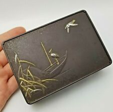 More details for antique meiji period signed japanese mixed metal box - a/f
