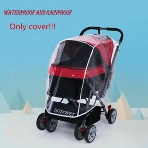 Pet Cart Stroller Dog Cat Carrier Cover Only Transparent Rain For Push Chair Car