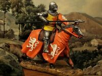 """Hand Painted Mounted Medieval Crusader Knight Figure Realistic Gift 11,5 cm/4.5"""""""