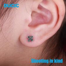 DUCIC Vingtage Women 925 Sterling Silver Inlay Marcasite Cross Stud Earrings