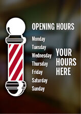 BARBER SHOP OPENING HOURS TIMES WINDOW STICKER BARBER POLE SIGN A4 SIZE