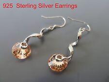 100% 925 Sterling silver earrings, Dangle earrings CZ Amber stones OZ Seller 22