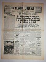 N1158 La Une Du Journal La Flandre libérale 11 mai 1940 la guerre nous atteint