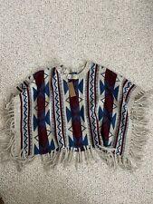 Francesca's Boho Tribal Southwestern Aztec Fringe Poncho Shawl Sweater OS NWT