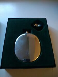 English Pewter Sheffield Hip Flask With Funnel New Boxed
